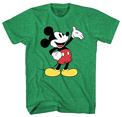 - Mad Engine Disney Mickey Mouse Wave Men's Adult Graphic Tee T-Shirt (Small, Kelly Green Heather)