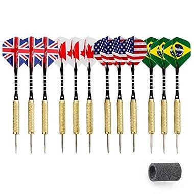 Centaur 12 Pack Steel Tip Darts with 2BA Aluminum Shafts and National Flag Flights (4 Styles) + Dart Sharpener, Professional Metal Dart Tips Set