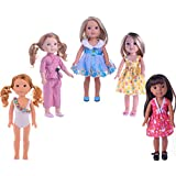 XADP 5 Sets Doll Clothes Dresses Clothing for 14 Inch and 14.5 Inch Dolls, American Girl Wellie Wishers Doll