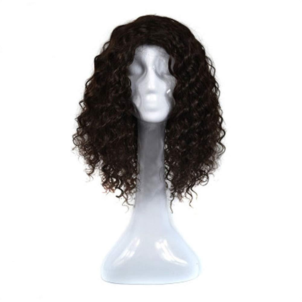 Yrattary 女性の本物の人間の髪の毛の波状の髪の毛延長 - 4#茶色がかった黒い合成髪のレースのかつらロールプレイングかつらロングとショートの女性自然 (色 : 黒) B07SCK6HGC 黒