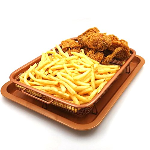 Fry Basket Rack (Gvode Copper Crisper as Oven Air Fryer- Multi-Purpose Non-Stick Baking Frying Tray & Basket)