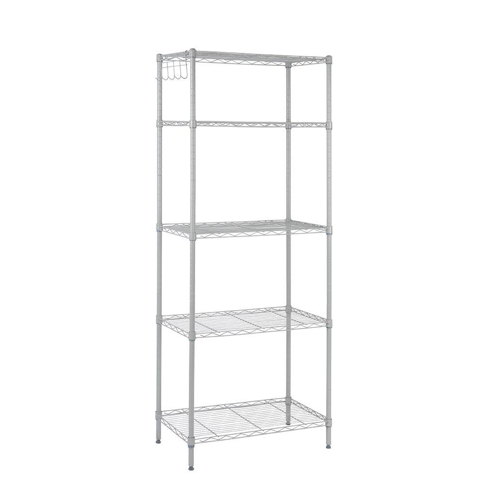 Rackaphile 5-Tier Classic Wire Storage Rack Organizer Kitchen Shelving Unit, Silver Grey