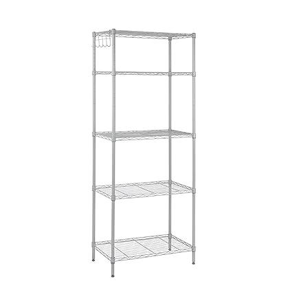 Rackaphile 5 Tier Classic Wire Storage Rack Organizer Kitchen Shelving Unit,  Silver Grey