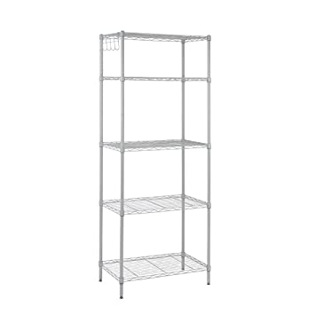 Floureon 5 Tier Classic Wire Storage Rack Organizer Kitchen Shelving Unit Silver Grey