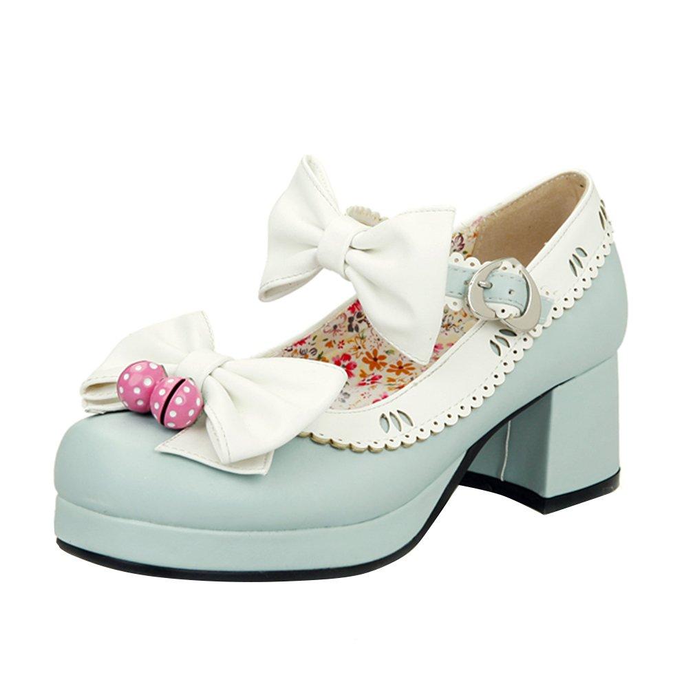 YE Damen Ankle Strap Rockabilly Pumps Chunky Heels Plateau mit Riemchen und Schleife Elegant Süß Schuhe  37 EU|Blau