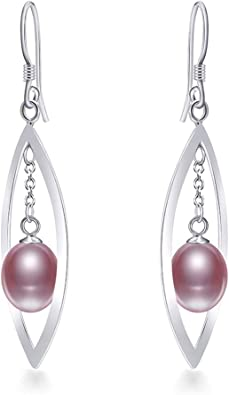 3 Color 6-9mm Silver Natural Pearl Earrings Classic Fashion Jewelry Women,Purple,6mm