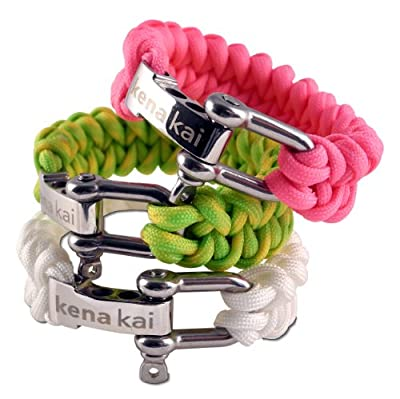 Paracord Survival Bracelet with Stainless Steel Adjustable Silver Shackle, Dragon Weave