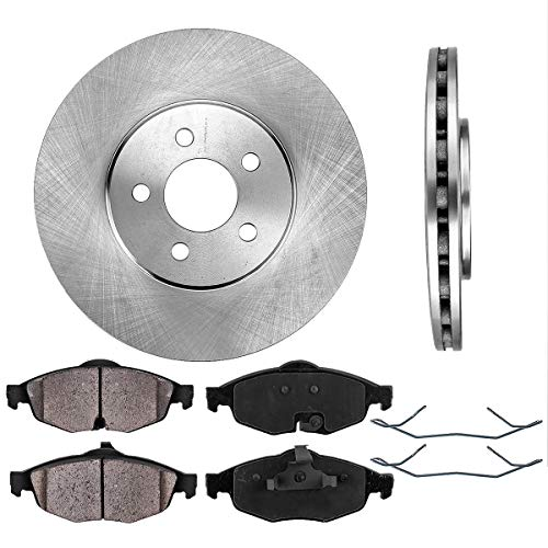 FRONT 282 mm Premium OE 5 Lug [2] Brake Disc Rotors + [4] Ceramic Brake Pads + Clips