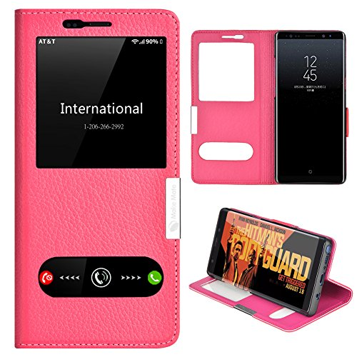 Samsung Galaxy Note 8 Case, Genuine Leather Ultra Thin Shockproof Samsung Galaxy Note 8 Cover Flip Case Window View Stand Feature Magnet Closure Phone Case for Samsung Galaxy Note 8 (Red)