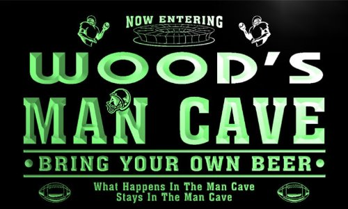 qa1078-g Wood's Man Cave Football Game Room Bar Neon Beer Sign by AdvPro Name (Image #3)