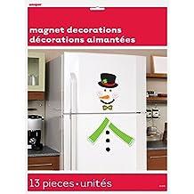 Snowman Holiday Refrigerator Magnet Decoration, 13pc