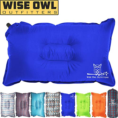 Wise Owl Outfitters Camping Pillow Lightweight & Self Inflating - Inflatable Foam & Air Compact Camp Pillow Best Lumbar Support Travel Airplane Camping Beach Hammock Backpacking Hiking Sleeping -Blue