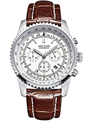 Men Watch Wrist Watches Quartz Classic Fashion Leather Strap Waterproof Gifts Brown White