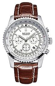 MEGIR 2009G Mens Military Wrist Watches 24 Hour Chronograph 3ATM Waterproof Quartz (Brown White)