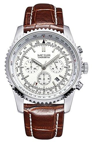 MEGIR 2009G Mens Military Wrist Watches 24 Hour Chronograph 3ATM Waterproof Quartz (Brown - Hr Wrist 24 Watch