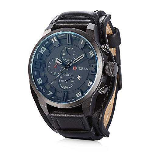 Mens Quartz Watch with White Dial Analogue Chronograph Black Genuine Leather Belt Casual Sports Watch with Date Display and Luminous Hands Grey Casing Black Dial Watch