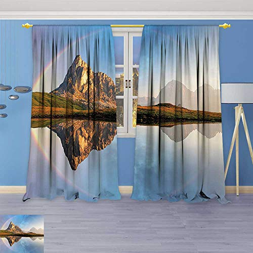 Clear Crystal Astoria (Philiphome Room Darkening/Thermal Insulated Grommet Window Curtains Decor Rainbow Over Mountain Lake Reflection in Crystal Water Dreamy Spots on Earth Set of Two Panels)