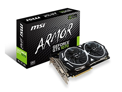 MSI Gaming GeForce GTX 1070 8GB GDDR5 SLI DirectX 12 VR Ready Graphics Card (GTX 1070 ARMOR 8G OC) (Best Gpu For Hashrate)