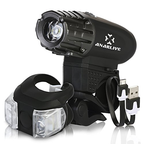 Bike Light Lumen by ANARLIVE Waterproof and USB Rechargeable LED LIGHT Super Powerful FREE TAIL LIGHT Easy to Install For KITS MAN WOMEN and ROAD SAFETY - Kits Cycling Women