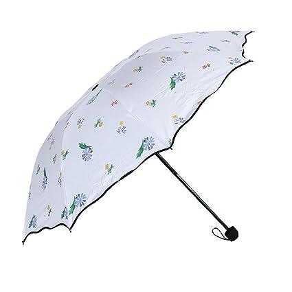 domybest 3 plegable anti UV paraguas Simple flores abierto Sunny lluvioso paraguas