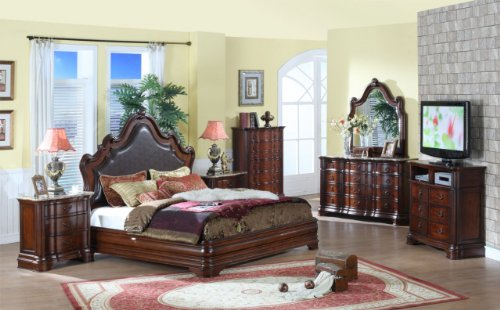 Inland Empire Furniture Queen Size Aaliyah Brown Cappuccino Solid Wood Bonded Leather Panel Bed with Bed Set