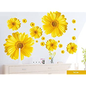 Amazoncom Kappier Big Bright Daisy Flowers Peel  Stick - Yellow wall decals