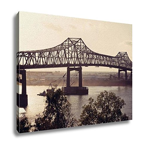 Ashley Canvas Bridge On Mississippi River In Baton Rouge Wall Art Decoration Picture Painting Photo Photograph Poster Artworks, 20x25