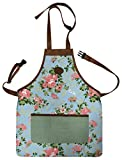 Floral Outdoor Gardening Tool Apron Adjustable Straps Durable 3 Pockets (46cm x 59cm)