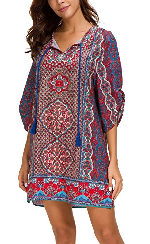 Women Bohemian Print V Neck Casual Dress Ethnic Style Summer Tunic Top (M, 4) from EXCHIC