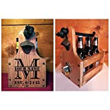 Personalized Wood Beer Caddy with Bottle Opener and Magnetic Bottle Cap Catcher. Handmade Rustic Wooden Six Pack Tote / Carrier - Split Monogram with Est. Date