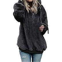 Women Hooded Sweatshirt Coat Winter Warm Wool Zipper Pockets Cotton Outwear