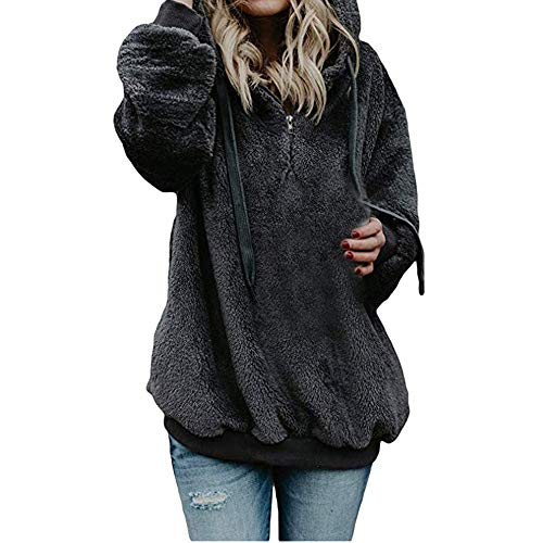 Solid Color Pocket Hoodies, Women Hooded Sweatshirt Coat Winter Warm Wool Zipper Pockets Cotton Coat Outwear Dark Gray