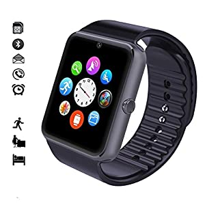 Wingtech Smart Watch Phone 1.54 Inch Phone Syc Fully Support Android 4.3 above and iPhone5s /6/6s/7/7s/8 (Partial Functions for iPhone) (Black)