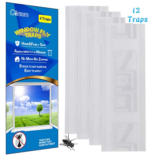 Garsum Fly Clear Window Fly Traps Bug Fly Killer Window Decal Non-Toxic,12 Pieces ()