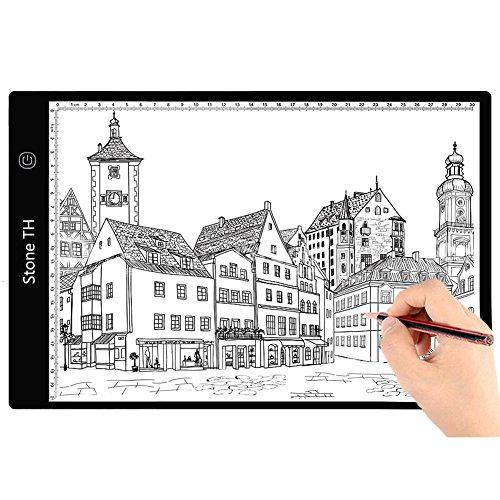 Mesa de Luz Dibujo A4, LED Tableta de Luz de Iluminacion de la Caja de Alimentacion Micro USB Ideal para Animacion Tatoo Dibuja