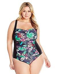 Coastal Blue Women's Plus Size Swimwear Classic Center Front-Twist One Piece Swimsuit