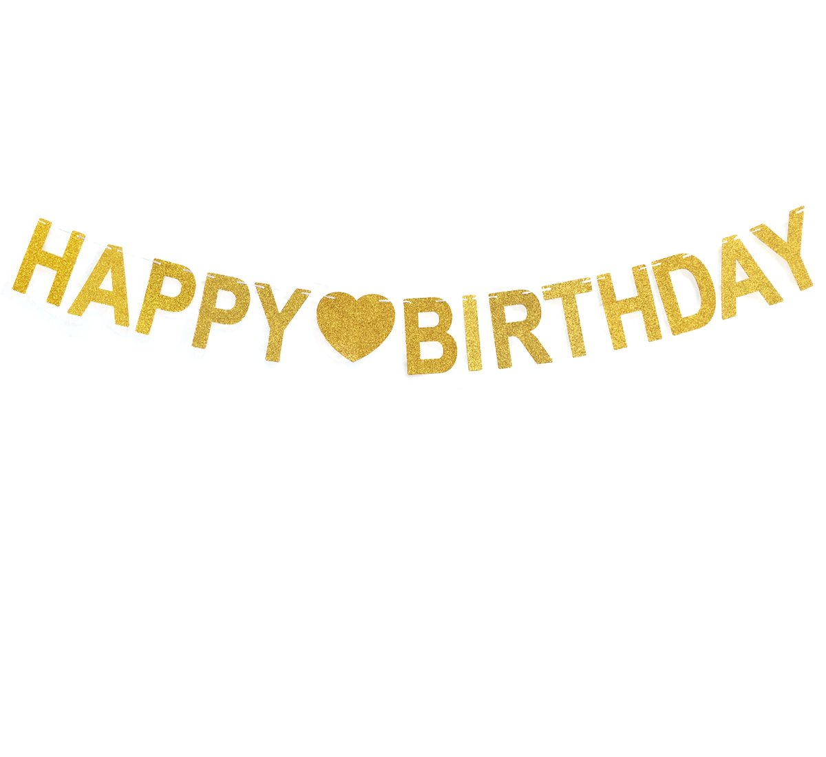 Andgo Happy Birthday Bunting Banner Sign Gold Glitter Banner For Birthday Party Decoration