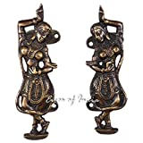 EYES OF INDIA - 6'' PAIR BRASS INDIAN DANCER DOOR HANDLES CABINET PULLS Bronze Antique India Deco