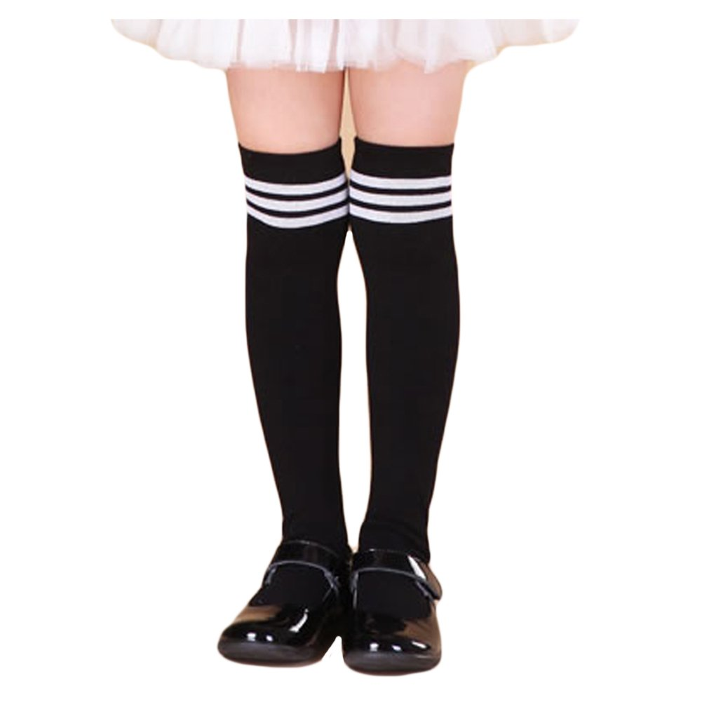 Saymequeen Girls Cotton Over-Knee Socks Tights School Uniform High Socks