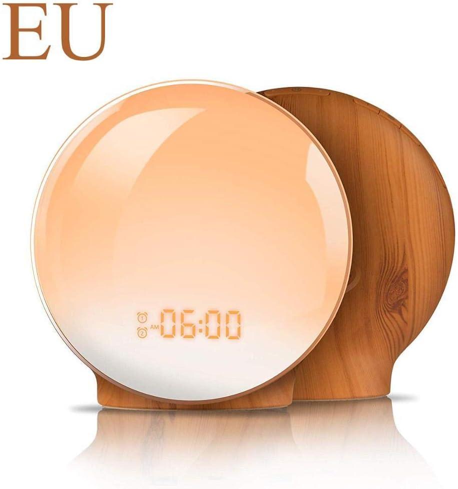 wwwl Despertador Alarm Clock Wake Up Light Digital Snooze Nature Night Lamp Clock Sunrise Colorful Light with Nature Sounds FM Radios EU-Yuan-Clock-Wood