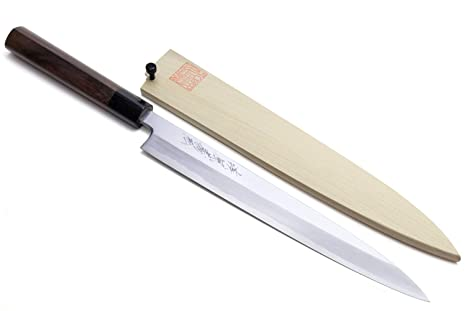 Yoshihiro Shiroko High Carbon Steel Kasumi Yanagi Rosewood Handle Sushi Sashimi Chef Knife (10.5 (270mm))