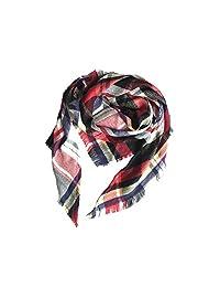 Women Winter Shawl Lattice Large Plaid Blanket Scarfs Wrap Gift for Girl (E-Red white)