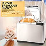 Secura MBF-016 MBG-016 Bread Maker, 2.2 Pound, Multi-function Design Stainless Steel Bread Machine