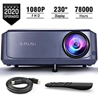 FUJSU Native 1080P Projector, Video Projectors for Business PowerPoint Presentations, Full HD Projector for Home Theater, Outdoor Movie, Compatible with Laptop, Smartphone, HDMI, Fire TV Stick, PS4