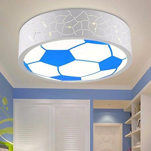 Unbekannt Set Tischleuchte-Kinderzimmer führte Deckenleuchte Lichter Cartoon Kinder kreative Fußball Dimmer Schlafzimmer weiß hellblau Lampen,Blaues Fußballauge Weiß 24W
