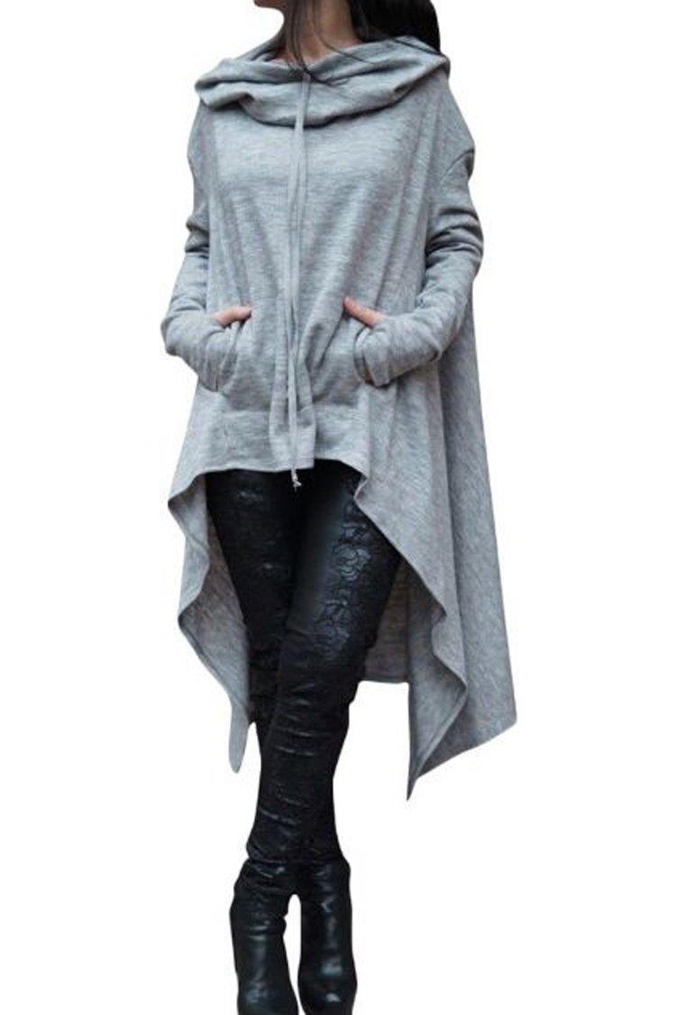 Herose Ladies Solid Cowl Neck Long Irregular Hi-Lo Hem Loose Sweatshirt Hoodie Hoodie0002