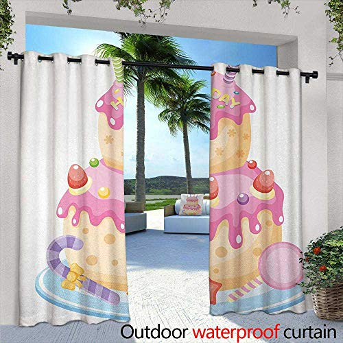 Tim1Beve Doorway Curtain Kids Birthday Pastel Colored Birthday Party Cake with Candles and Candies Celebration Image Simple Stylish 84