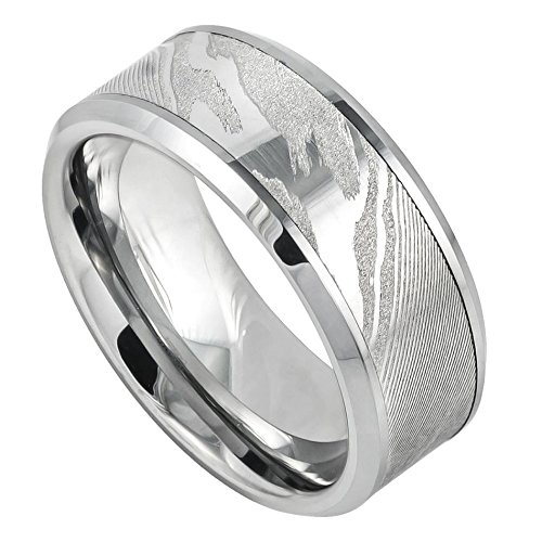 Men's 9mm Beveled Edge Wedding Band, Wood Grain Laser Engraved Design Center High Polished Comfort Fit Tungsten Carbide Anniversary Ring (Solid Carbide Ring Laser Tungsten)