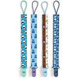 Premium Quality Baby Pacifier Clip (4 Pack) for Boys and Girls! . Fun and Cute ,Extra Safe, Double-sided Baby Pacifier Leash Designs.