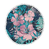 KESS InHouse Cafelab Tropical Style Green Pink Illustration Round Beach Towel Blanket